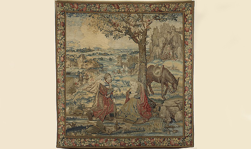 Rest on the Flight into Egypt, Tapestry, Flemish, early 16th century. Wool, silk, silver and gold threads, 92 x 85 in. Frick Art & Historical Center, Pittsburgh, 1970.28.