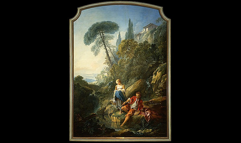 Francois Boucher (French, 1703-1770), Pastorale: A Peasant Boy Fishing, 1732. Oil on canvas. Frick Art & Historical Center, 1972.3, Pittsburgh