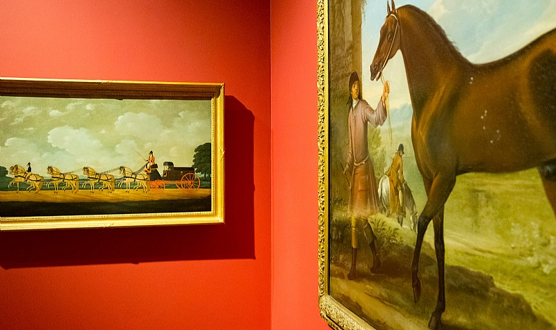 The Final Lengths of the Race for the Doncaster Gold Cup, 1826, John Frederick Herring, Sr., oil on canvas (left) A Bay Horse, Possibly Leedes, Led by a Groom, ca. 1715, John Wootton, oil on canvas (right), Collection of Mr. Paul Mellon
