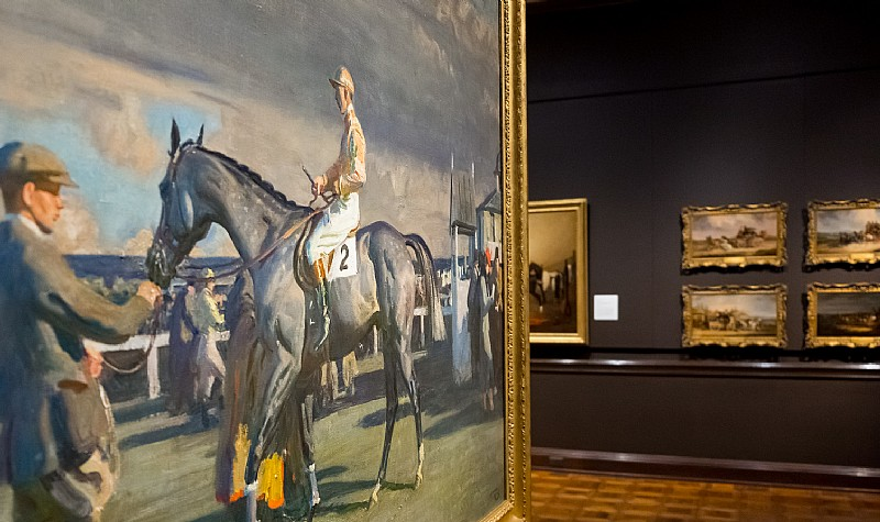 After the Race, Cheltenham Saddling Paddock, ca. 1946, Sir Alfred Munnings, oil on canvas, Collection of Mr. Paul Mellon