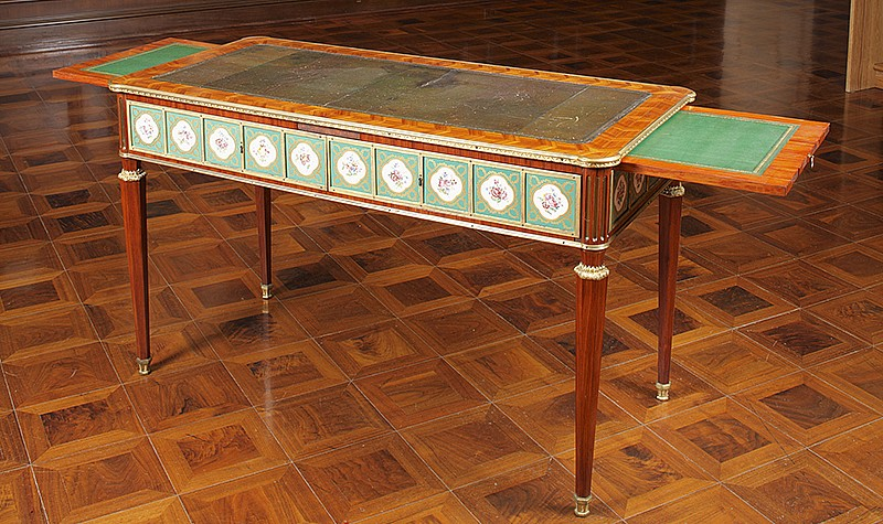 Martin Carlin (Germany, c. 1730-France, 1785), Writing Table, c. 1780. Mahogany, satinwood, oak, porcelain, ormolu and leather. Frick Art and Historical Center, Pittsburgh, 1985.325.