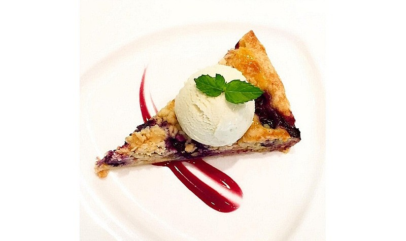 Peach, blueberry crumble tart with buttermilk ice-cream