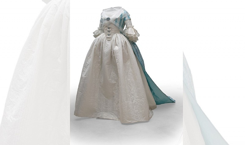 Gown La Vaporeuse, 2001, Inspired by Self Portrait with a Harp, 1791 by Rose Adelaide Ducreux in the collection of the Metropolitan Museum of Art