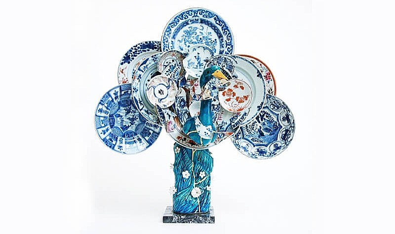 Bouke de Vries; Peacock 1, 2015; 20th century Chinese porcelain bird with 18th century porcelain fragments and mixed media.