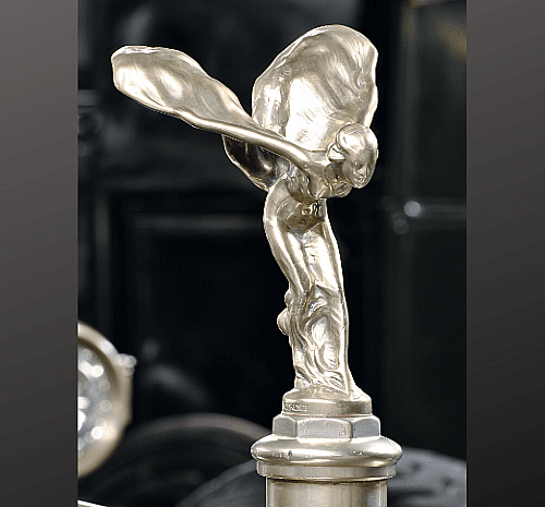 $500 - Spirit of Ecstasy, Rolls-Royce of America, Inc., Springfield, Massachusetts, Silver Ghost Salamanca Town Car, 1923. Ornament designed by Charles Sykes (1875-1950). Frick Art & Historical Center, 2002.1.1. Gift of William Penn Snyder III.