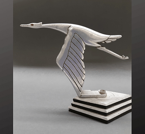 $500 - La Cigogne (The Stork), La Hispano-Suiza Fábrica de Automóviles, c. 1920s. Ornament designed by Francois Bazin (1897-1956). Collection of Ken Merusi.