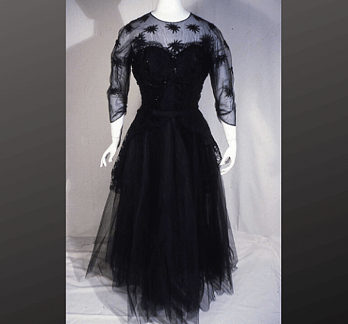 $1,000 - Maker unknown, Black Evening Dress, c. 1947-1949. Collection of the Frick Art & Historical Center, 1995.9
